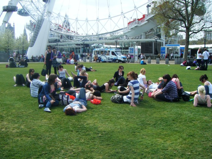 My entire school year panning out on the grass following our jaunt on The London Eye, this photo was taken 6 years ago!